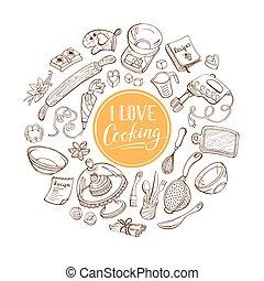 cartaz, cozinhar, amor