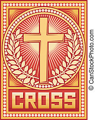 cartaz, crucifixos