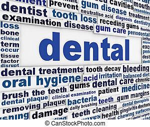 cartaz, dental, desenho, médico