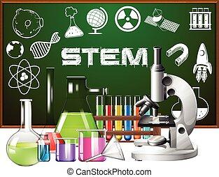 cartaz, desenho, para, caule, educação, com, ciência,...