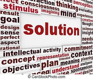 cartaz, desenho, solução
