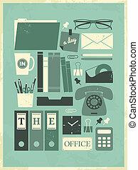 cartaz, dia, escritório