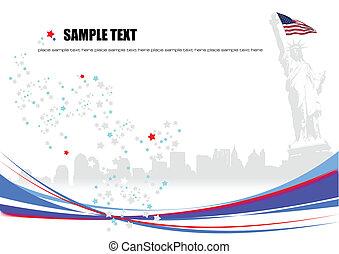 cartaz, dia independência, de, estados unidos américa, com,...