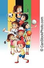 cartaz, diferente, crianças, esportes