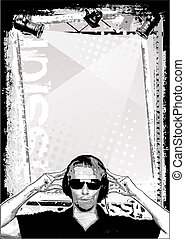 cartaz, dj, fundo
