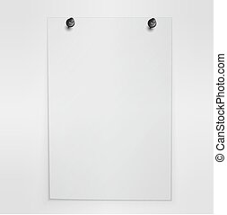 cartaz, em branco, wall., vector., penduradas, branca