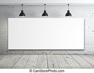 cartaz, em, quarto branco