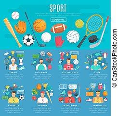 cartaz, equipamento esportivo, jogo, modelo, desporto