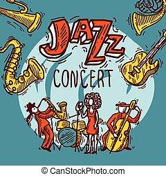 cartaz, esboço, jazz