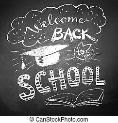 cartaz, escola, bem-vindo, costas