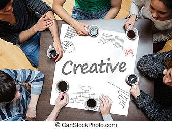 cartaz, escrito, d, criativo