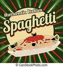 cartaz, espaguete, retro
