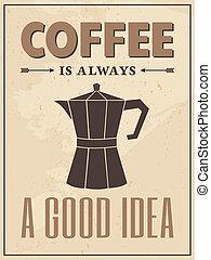 cartaz, estilo, café, retro
