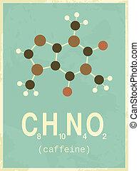 cartaz, estilo, retro, cafeína