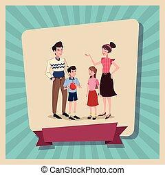 cartaz, família, feliz