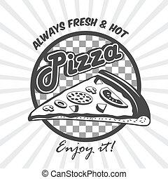 cartaz, fatia, anunciando, pizza