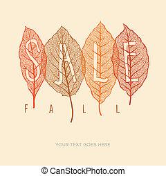 cartaz, folhas, outono, venda, secado