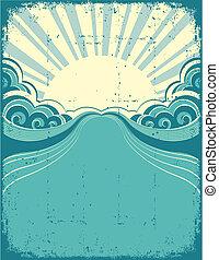 cartaz, grunge, fundo, luz sol., natureza