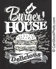 cartaz, hambúrguer, casa, giz