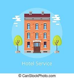 cartaz, hotel, vetorial, serviço, ilustração