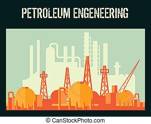 cartaz, indústria, óleo