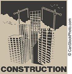 cartaz, indústria, construção