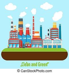 cartaz, indústria, verde