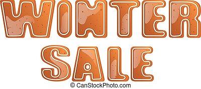 cartaz, inverno, venda