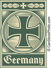 cartaz, (iron, alemanha, cross)