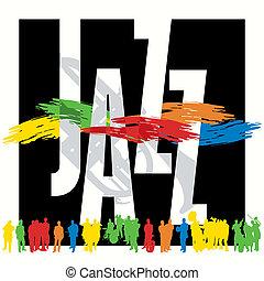 cartaz, jazz, modelo