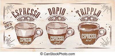 cartaz, kraft, espresso