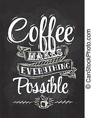 cartaz, lettering, café, giz