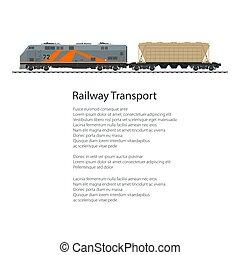 cartaz, locomotiva, com, hopper, car