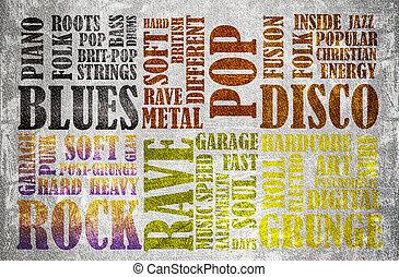 cartaz, música, rocha