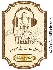 cartaz, música viva, retro