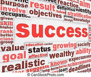 cartaz, mensagem, desenho, sucesso