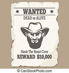 cartaz, morto, ocidental, querido, ou, vivo