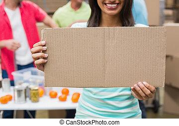 cartaz, mostrando, voluntário, cima fim