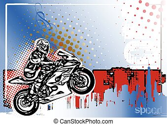 cartaz, moto, fundo, gp