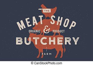 cartaz, para, butchery, carne, shop., vaca, porca, galinha, levantar, ligado, um ao outro