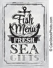 cartaz, peixe, menu, carvão