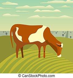 cartaz, prado, vaca