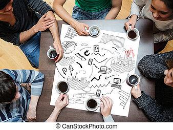 cartaz, pretas, gráficos, drew, desenhos