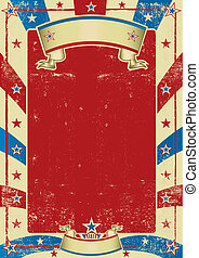 cartaz, quadro, usado, americano, vermelho