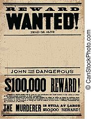cartaz querido, vetorial, ocidental, modelo, recompensa
