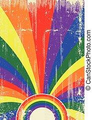 cartaz, raios sol, retro, homossexual