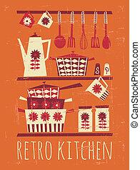 cartaz, retro, cozinha