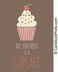 cartaz, retro, cupcake
