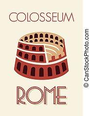 cartaz, roma, colosseum