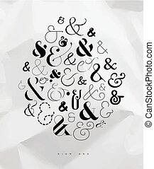 cartaz, símbolo, ampersand